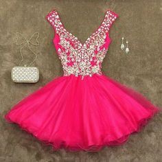 Off shoulder Homecoming dresses, Sexy hot Pink Homecoming dresses, 2016…