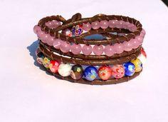 Multicolor Leather Wrap Bracelet by NeffShope on Etsy, $16.00