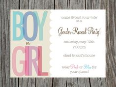 Gender Reveal Party Invitation Printable by PrintYourHeartOut, $11.50