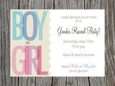 Gender Reveal Party Invitation Printable