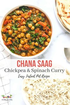 A vegan chickpeas and spinach curry cooked in onion, tomato based tangy sauce and spiced with turmeric, cumin and garam masala. #ministryofcurry #instantpot Healthy Curry Recipe, Healthy Indian Recipes, Delicious Vegan Recipes, Curry Recipes, Vegetarian Recipes, Ethnic Recipes, Tasty, Chickpea Masala, Chickpea And Spinach Curry
