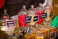 Great candy presentation for a pirate party! via Pirate Themed Birthday Party - Kara's Party Ideas - The Place for All Things Party Birthday Themes For Boys, 3rd Birthday Parties, Birthday Fun, Birthday Ideas, Kid Parties, Pirate Food, Pirate Theme, Willy Wonka, Pirate Birthday