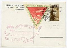 Pontificio - Trieste Ottobre 1934 / Esperimenti di Posta per Razzo Espresso - etichette da 5 e 7,70 l. su cartolina con 10 c. Medaglie d'Oro - senza indirizzo.