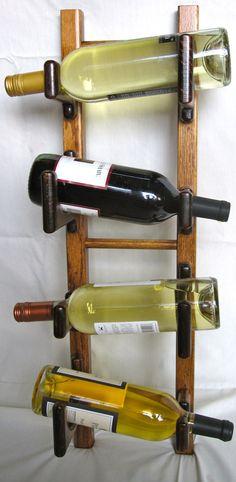 Oak Wine Rack 4 Bottle Wall Mounted