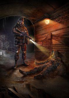 ArtStation - The Dangerous tunnel, Igor Solovyev Apocalypse World, Apocalypse Art, Apocalypse Survival, Metro 2033, Art Fallout, Apocalypse Character, Post Apocalyptic Art, Dark Fantasy Art, Military Art