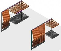 of retractile solar protection for bio climatic housing (dwgAutocad drawing)Eaves of retractile solar protection for bio climatic housing (dwgAutocad drawing) Kinetic Architecture, Detail Architecture, Modern Architecture, Facade Design, House Design, Pergola, Solar Shades, Shade Structure, Autocad