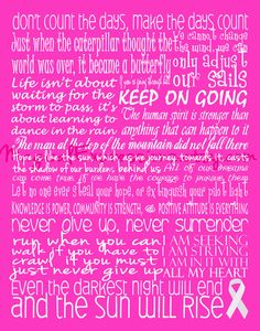 Breast Cancer Awareness Survivor Typography 11 by 14  (Benefits Relay For Life)