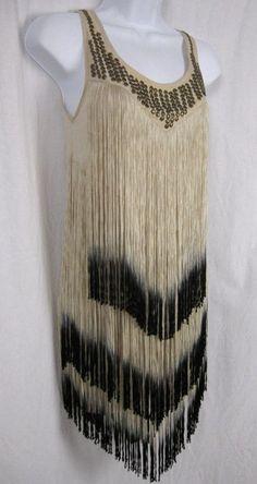 TOPSHOP VINTAGE NUDE FLAPPER DRESS FRINGE 20s GATSBY JAZZ AGE CHARLESTON TASSEL