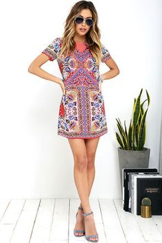 Sangria Coral Pink Tile Print Shift Dress at Lulus.com!