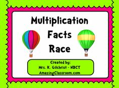 This flipchart is designed to help your students master the most difficult multiplication facts while having fun at the same time! This flipchart provides a multiplication race game for the hardest facts - 3's, 4's, 6's, 7's, 8's, 9's, 10's, 11's, and 12's. Each flipchart game page contains two characters (player 1 and player 2). Each page has directions and students utilize the calculator and dice to while playing! Enjoy!