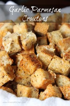 Homemade Garlic Parmesan Croutons with Jimmy John's Day Old Bread!