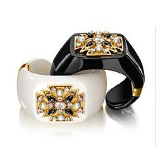 Verdura Maltese Cross Hinged Hardstone Cuff Mammoth ivory, black and white diamonds, pearl and gold; Black jade, black and white diamonds, p...