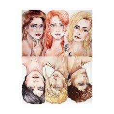 Tessa, Clary and Emma with Will, Jace and Julian