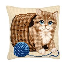 Vervaco Kitten and Wool Cross Stitch Cushion, Multi-Colour