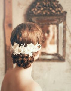 Pretty braided updo and flower comb