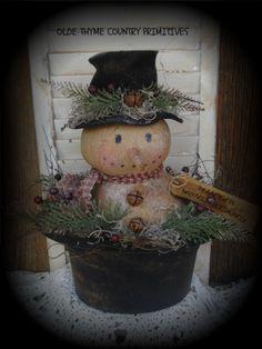 Primitive Snowman Doll In Paper Mache Snowman Hat #NaivePrimitive
