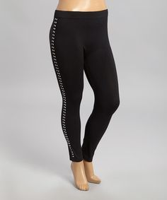 17042eafecc25 Another great find on #zulily! Black Stud Leggings - Plus by Sole Dione #