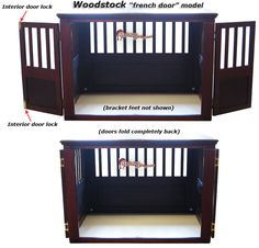 Wooden dog crate french door style