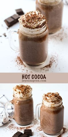 Hot Cocoa - rich and yummy homemade hot chocolate recipe. A cozy warm beverage that is comforting and perfect during the chilly weather. This dessert drink is made with cocoa powder and chocolate, is easy to make at home, and so much better than store bought! #hotcocoa #hotchocolate #chocolate #beverage #drink #dessert #recipe #joyousapron Hot Chocolate Using Cocoa, Homemade Hot Chocolate, Hot Chocolate Recipes, How To Make Chocolate, Chocolate Flavors, Melting Chocolate, Beverage Drink, Dessert Drinks, Drinks Alcohol Recipes