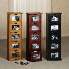 """$229.99 Jackson Photo Cabinet: Organize your pictures in Jackson Photo Storage Cabinet. Wooden storage cabinet has 5 drawers. Each drawer contains 5 albums with 14 sleeves (with front and back) to hold 4""""x6"""" photos. File photos away, and place special pictures on the drawer fronts. Specify finish: Black Rubbed, Classic Cherry, Honey Oak, Mission Red Oak, or Windsor Oak. 11""""Wx7""""Dx35""""H, 24 lbs."""