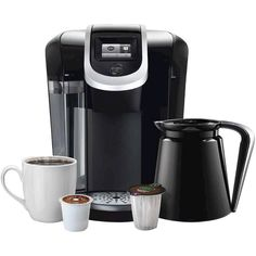 Keurig . K300 Coffee Maker Brewing System with Carafe, Black/Silver ($140) ❤ liked on Polyvore featuring home, kitchen & dining, small appliances, single serving coffee maker, silver coffee maker, colored coffee makers, espresso coffee machines and single serve brewers