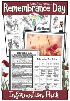 This pack has been devised for Australian classrooms to commemorate Remembrance Day. This information will assist in the writing of your own Information Text, guided by a rubric. Daily 5 Activities, Road Trip Activities, Sight Word Activities, Teaching Activities, Classroom Activities, Teaching Reading Strategies, Reading Resources, Teaching Writing, Reading Comprehension