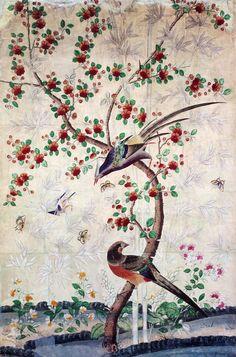 Un lé de papier peint à décor de fleurs et d'oiseaux. Pâte à papier de mûrier et de bambou, gouache. Chine, région de Canton. Vers 1750. (Y. Boelle - Musée Compagnie Des Indes - Ville de l'Orient)    La Chine à Versailles