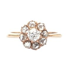 Antique Victorian rose gold diamond cluster ring from Trumpet & Horn