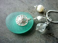 Sea Glass Necklace Sand Dollar Pendant Charm