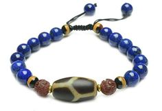 Tibetan Dzi Longevity Turtle Protection Dzi Bead Lapis Lazuli Bracelet - Fortune Feng Shui Jewelry ** Check out the image by visiting the link.