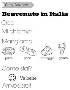 Come learn Italian with us! These are simple, easy Italian lessons for kids. There are free printables and free Italian worksheets for kids Italian Grammar, Italian Vocabulary, Italian Phrases, Italian Words, Italian Language, Spanish Language, Language Study, Dual Language, Chinese Language