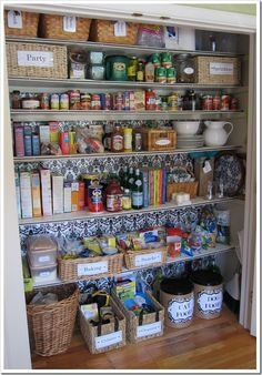 Kitchen Organization Ideas - Transform a Coat Closet into a Pantry by Cute DIY Projects The kitchen should be a relaxing haven, but it's easy to let clutter build up. Discover some kitchen organization ideas to help you declutter and organize. Pantry Closet Organization, Pantry Storage, Organization Hacks, Kitchen Storage, Food Storage, Kitchen Decor, Organized Pantry, Organizing Ideas, Small Pantry Closet