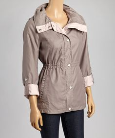 Another great find on #zulily! Taupe & Rose Hooded Coat #zulilyfinds