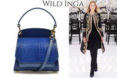 Petrol blue mini Scarlett handbag made of snakeskin for a chic outfit @comenziwildinga