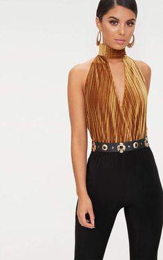 Gold Pleated Velvet Drop Armhole Thong Bodysuit Cheap T Shirts 921ed678e