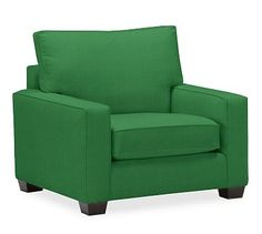 PB Comfort Square Arm Slipcovered Grand Armchair, Box Edge Down Blend Wrapped Cushions, Linen Blend Grass Green