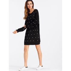SheIn(sheinside) Faux Pearl Drop Shoulder Dress (58 PEN) ❤ liked on Polyvore featuring dresses, long sleeve embellished dress, shift dress, long-sleeve maxi dresses, short sleeve dress and short white dresses