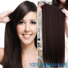 """18"""" Full Head One Piece Sets Real Natural Hair Clip In Hair Extensions, 75 Grams Straight Lace Base Clip In, Free Shipping"""