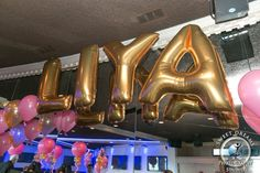 Gold Name In Balloons Bubble Printed Mylar