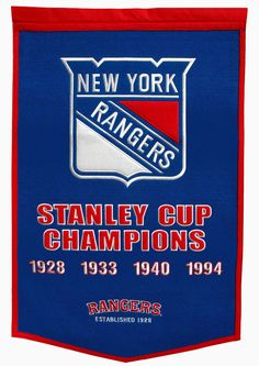 NY Rangers Stanley Cup Champions Banner