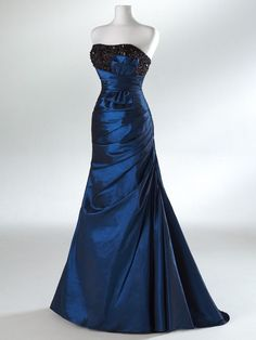Peacock Blue Beaded/Lace Strapless  Party/Ball/Prom/Evening/Formal Dress Sz 8 #BallProm