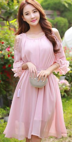 Shoulder Cut-out Pearl Detail Chiffon Dress♡♡♡♡♡