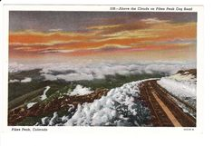 Pikes Peak above the Clouds Colorado Springs Colorado Vintage Postcard by PicturesFromThePast