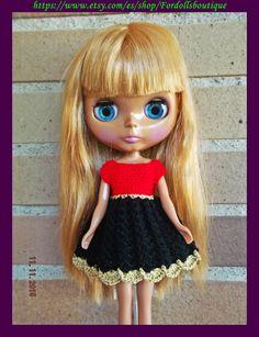 Handmade dress for Blythe dolls - Vestido hecho a mano para muñecas Blythe de Fordollsboutique en Etsy