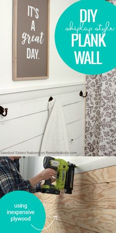 Get a Fixer Upper style farmhouse look on a budget with this easy and inexpensive shiplap plank wall, made from a single sheet of inexpensive plywood.