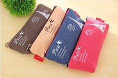 New Fashion Stationery Bag Canvas Bag Zipper Pen Case Pencil Case Make Up Bag   eBay