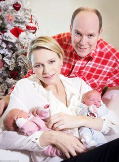 The Palace of Monaco have released a set of images ofPrince Albert II of Monaco and his wife Charlene posing with their twin babiesJacques and Gabriella at the Princess Grace Hospital in Monaco.