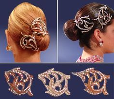 Simple buns with stoned hair accessories. Good for standard and latin. Visit http://ballroomguide.com/comp/hair_make_up.html for more hair and makeup info