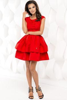 Sukienka rozkloszowana z falbaną 2117