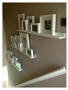 Finished stair gallery using Ikea Ribba rangeSuper idée pour décorer les escaliers ! Finished stair gallery using Ikea Ribba range Picture Shelves, Picture Frame, Ikea Picture Ledge, Floating Shelves Diy, Floating Stairs, Stairways, Living Room Decor, Shabby Chic Living Room, House Design